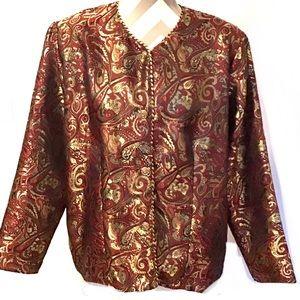 Vintage Burgundy and Gold Brocade Jacket